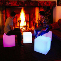 Wholesale Creative lighting furniture plastic LED bench Square CM bench RGB color bench bar home decor set