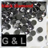 Wholesale Black Diamond Rhinestone Flatback - good selling black diamond color DMC Hot-fix rhinestones flatback with glue for Garment free shipping