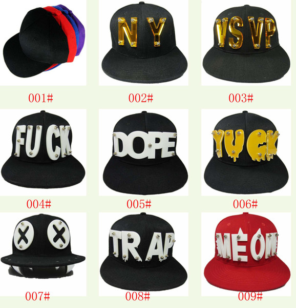 Baseball Cap Snapback Men's Cap Hat Acrylic 3D Letters Rivet Spikes Bolted 1pcs many design U choice Fashion New For Men Women
