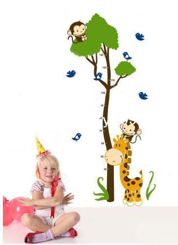 Girafa Macaco Árvore Altura Carta Decalques de Parede Decoração Etiqueta Removível Berçário PH