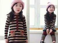 Wholesale Long Dresses Korean Winter - Wholesale - Spring autumn children clothes Korean New style pure cotton stripe long dress+leggings 2pcs girls set 4~12 Year kids suits