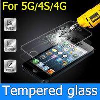 protector de la pantalla del iphone 5g al por mayor-Envío libre protector de la película de vidrio templado Protector de la película a prueba de arañazos a prueba de arañazos para el iphone 4 4G 4S 5G