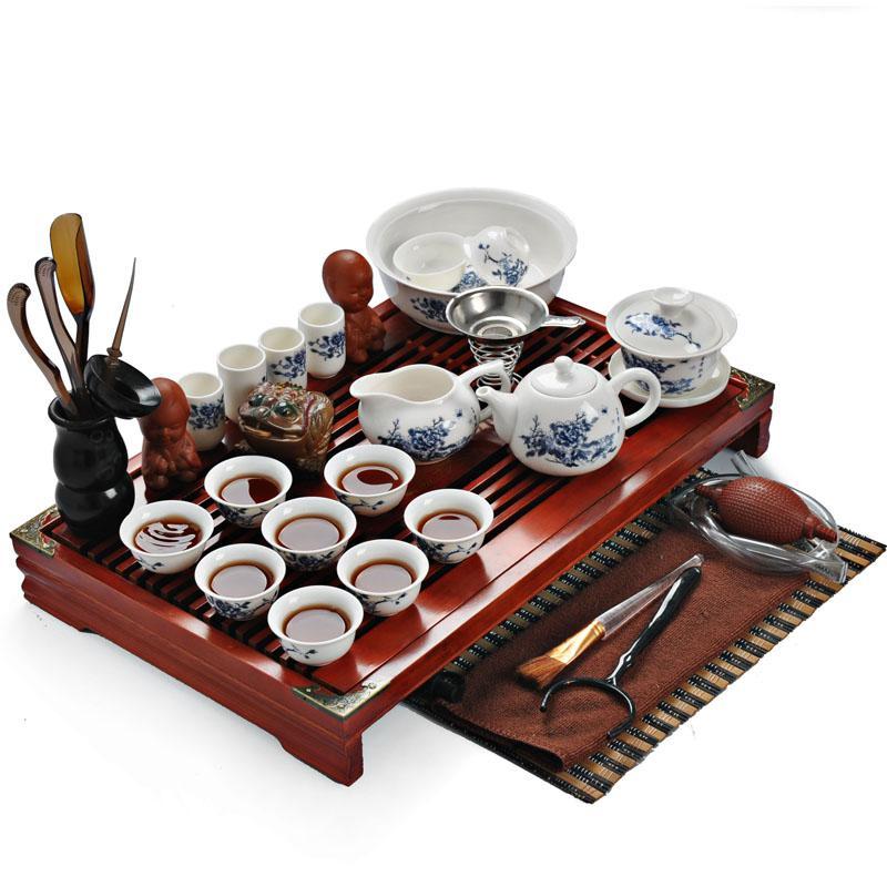 2018 Bone China Tea Set Set Ceramic Tea Set Sculpture Wood