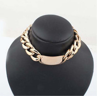 Wholesale Wide Choker Necklaces - NEW ARRIVAL CHUNKY WIDE BOLD GOLD CURBED CHAIN LINK ID PENDANT STATEMENT CHOKER NECKLACE FREESHIPPING