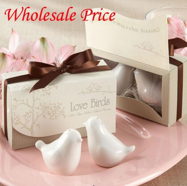 """Love Birds In The Window"" Ceramic Salt & Pepper Shakers Wedding Favor 600pcs=300sets FEDEX Free shipping"