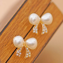 Wholesale Diamond Bow Fashion Earring - Pearl Earrings Rhinestone Fashion Bow Earing Best Gift wedding stud earrings free shipping