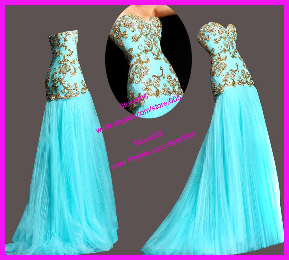 Turquoise Sweetheart Gold Sequins Mermaid Tulle Formal Evening ...