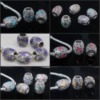 Wholesale Silver Euro Bracelets - 100pcs Big Hole European Mixed Enamel Cylinder Silver Loose Euro Beads Fit Charms Bracelet