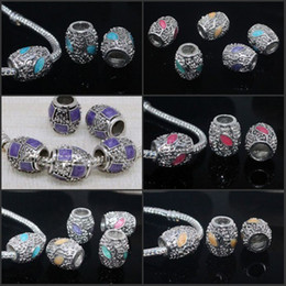 Wholesale Silver Euro Bracelets - 100pcs Big Hole European Mixed Enamel Cylinder Silver Loose Euro Beads Fit Charms Bracelet