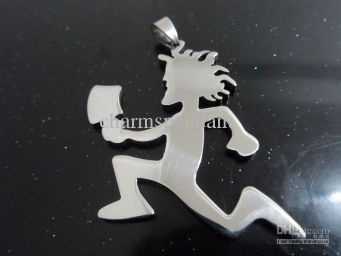 Bateau gratuit! en acier inoxydable argenté 2 '' grand hachette de charmes pendentif chaîne libre Crazy clown bijoux Posse Twiztid
