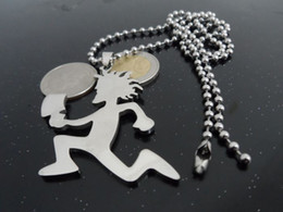 Wholesale silver clown pendant - Free ship! 1pcs silver stainless steel 2'' large hatchetman charms pendant free chain Crazy clown jewelry Posse Twiztid
