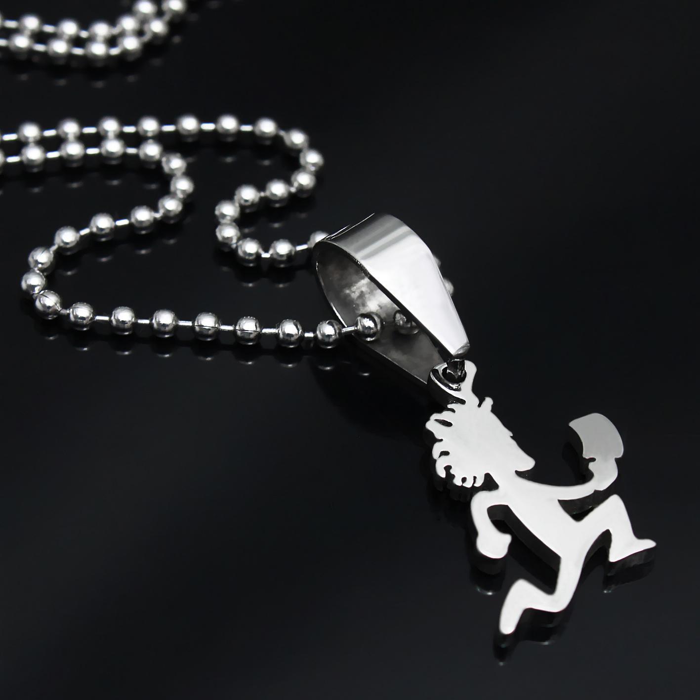 توصيل مجاني! صغيرة 1 '' 316L المجوهرات الصف الفولاذ المقاوم للصدأ MINI سحر hatchetman قلادة سلسلة مجانا مجنون مهرج المجوهرات بوسي Twiztid