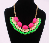 Wholesale Mixed Collar Necklace - New Lady multi layer mixed Colour Fashion Bib Statement necklace collar 8colors Freeshipping