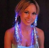 волоконно-оптические огни свадьбы оптовых-мода мигающий оплетки светодиодные светящиеся волокна загораются волосы волоконно оптические волосы на день рождения / праздновать / фестиваль украшения партии