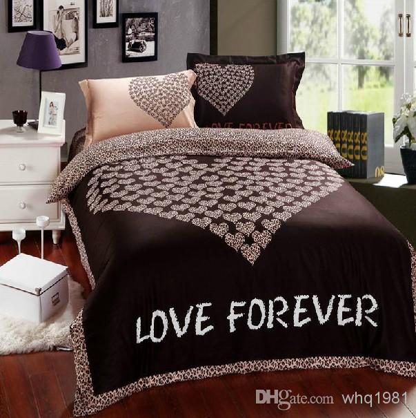 Romantic Brown Leopard Love Forever Bedding Sets Queen Size