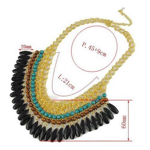 Hot Nieuwe Mode Dames Vintage Tasel False Collar Ketting Mutilayer 3 kleuren Charm Statement