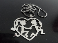 Wholesale Icp Hatchetman Necklace - Free ship! 316L jewelry Grade stainless steel hatchetman heart friendship charms pendant free chain ICP jewelry performer JUGGALO