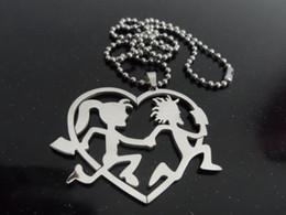 Wholesale Icp Hatchetman - Free ship! 316L jewelry Grade stainless steel hatchetman heart friendship charms pendant free chain ICP jewelry performer JUGGALO