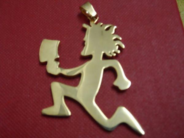 Yüksek Kalite altın renk büyük 2 '' paslanmaz çelik hatchetman kalp dostluk charms kolye ücretsiz zincir ICP takı sanatçı JUGGALO