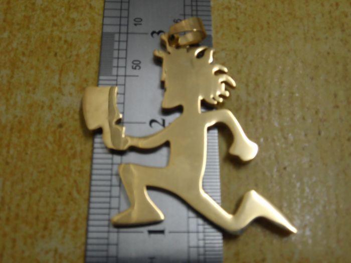 Di alta qualità color oro grande 2 '' in acciaio inossidabile hatchetman cuore amuleti ciondolo catena libera ICP gioiellier performer JUGGALO
