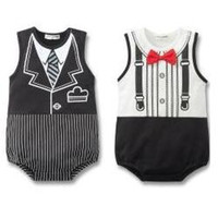 Wholesale Tuxedo For Baby Boys White - fashion tuxedo bodysuits for baby rompers 2 colors Z01