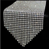 Wholesale Table Decoration Crystals Diamonds - 10pcs lot 12*275cm Elegant diamond Crystal Rhinestone sparkling Table Runner Table Mats wedding party decoration favor wa047