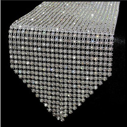 Wholesale Diamond Favor Wedding - 10pcs lot 12*275cm Elegant diamond Crystal Rhinestone sparkling Table Runner Table Mats wedding party decoration favor wa047