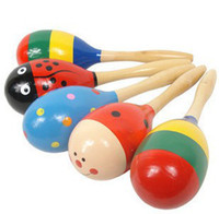 Wholesale Maracas Color - Wholesale - Hot Sale Cartoon Color Pattern Wooden Maracas Cabasa Sand Hammer Preschool toys Baby Toddler Toys mix colours