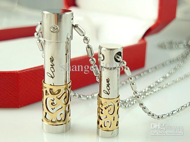 Femmes / filles en acier inoxydable chaîne lien collier belle bouteille de parfum collier pendentif Fashion ladies parfum bouteille mélange ordre