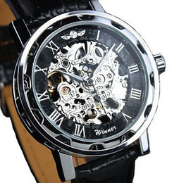 Wholesale Hollow Skeleton Mechanical Watch - Winner Classic Skeleton Dial Hand Winding Mechanical Sport Army Watches Men Hollow Transparent Dial Leather Band Strap Watch