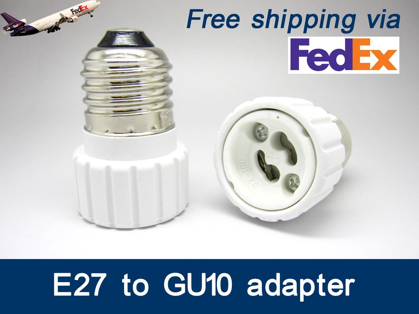 FedEx бесплатная доставка ES, чтобы GU10 адаптер светодиодные адаптер E27 к GU10 держатель адаптер Адаптер GU10 к E27 конвертер гнездо E27-GU10 с цоколем GU10-Е27