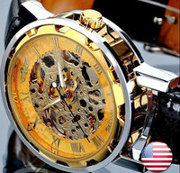 skelettart uhren großhandel-2019 neue Mode Skelett Gewinner berühmte Design-Stil hohlen Business Leder klassische Männer mechanische Hand Wind Handgelenk Armee Uhr