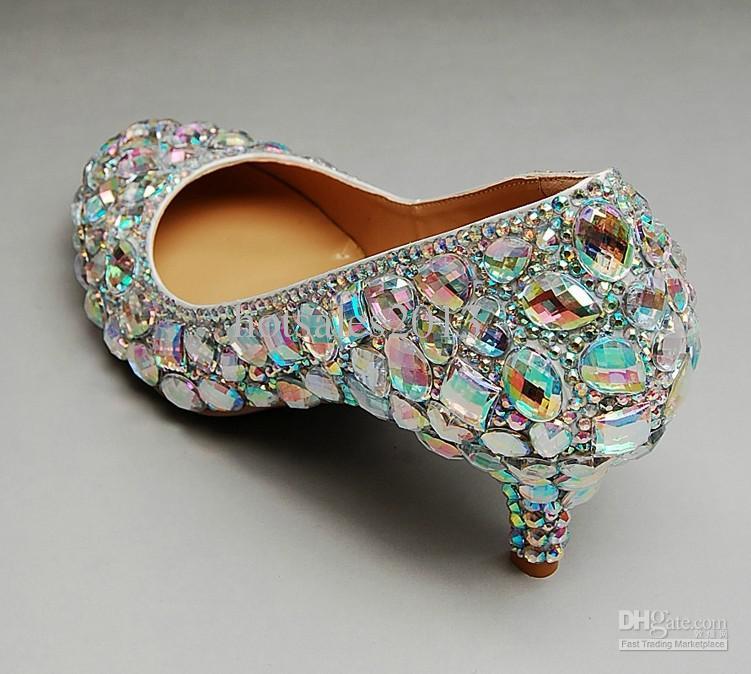 Düğün Sparkly Glitter Yüksek Topuklu Balo Rhinestone Düğün Ayakkabıları Için Gelin Ayakkabıları Orta topuk kadın moda elbise ayakkabı Ücretsiz Kargo