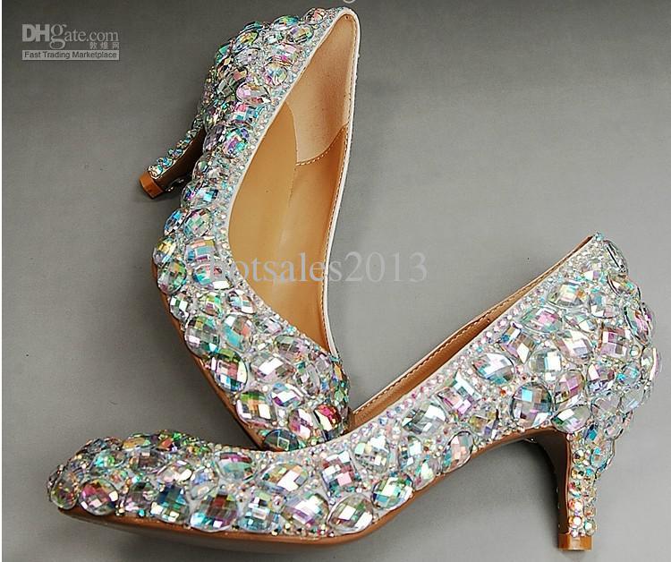 Casamento Sparkly Glitter Sapatos De Salto Alto Para O Baile de Formatura Rhinestone Sapatos de Casamento Sapatos de Noiva salto Médio moda mulher vestido sapatos Frete Grátis