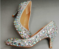 Wholesale shoes wedding middle online - Wedding Sparkly Glitter High Heels For Prom Rhinestone Wedding Shoes Bridal Shoes Middle heel woman fashion dress shoes