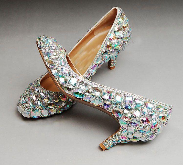 Bruiloft Sparkly Glitter Hoge Hakken Voor Prom Rhinestone Trouwschoenen Bruids Schoenen Midden Heel Vrouw Mode Jurk Schoenen Gratis Verzending