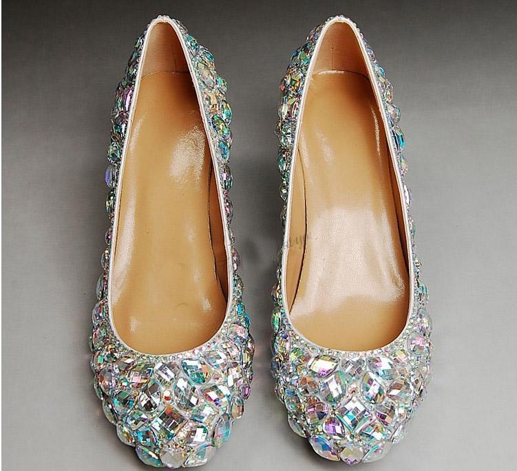 Zapatos de tacón alto brillantes para bodas Zapatos de boda de diamantes de imitación Zapatos de novia Zapatos de tacón medio para mujer Zapatos de vestir de moda Envío gratis