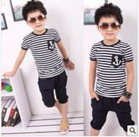 Wholesale Low Price Boys Shorts - hot selling boys summer set short sleeves navy sailor chest label striped shirt low price