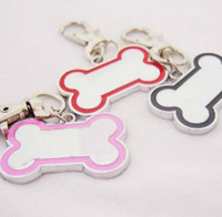 Wholesale Id Keychain Necklace - 2013 High Quality 24pc lot colorful dog bone shaped Alloy Pet Dog Cat ID Card Tags Necklace ornaments Keychain