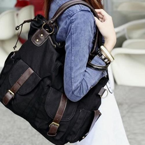 dc66528afd 8047 Mucti Pockets Canvas Fashion Lady Girls Shoulders Totes Bag School  Large Handbag Briefcase Leather Backpack From Ivy liuxiaoai
