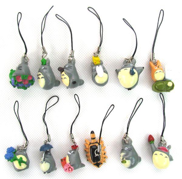El envío libre al por mayor Tonari no Totoro 60 PCS / 5 CONJUNTOS PVC figura de acción Muñeca Juguetes correa del teléfono Charm Strap para teléfono celular MP3