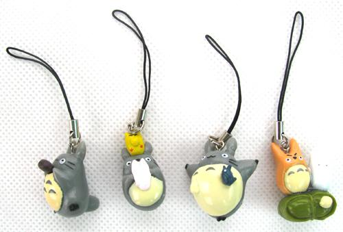 El envío libre al por mayor Tonari no Totoro / 5 CONJUNTOS PVC figura de acción Muñeca Juguetes correa del teléfono Charm Strap para teléfono celular MP3
