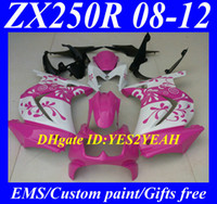 Wholesale Ninja Kawasaki Fairings Pink - Motorcycle Fairing kit for KAWASAKI Ninja ZX250R ZX 250R 2008 2012 EX250 08 09 10 11 12 flowers pink white Fairings KH91