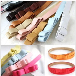 Wholesale Women Skinny Belt - 2017 New High quality Bow Sweet Princess Belts PU Leather Thin Skinny Waistband Women Candy Color Big Bowknot Belt Promotions