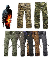 Wholesale Black Gray Camo Pants - 2017 Worker Pants CHRISTMAS NEW MENS CASUAL MILITARY ARMY CARGO CAMO COMBAT WORK PANTS TROUSERS 11 COLORS SIZE 28-38