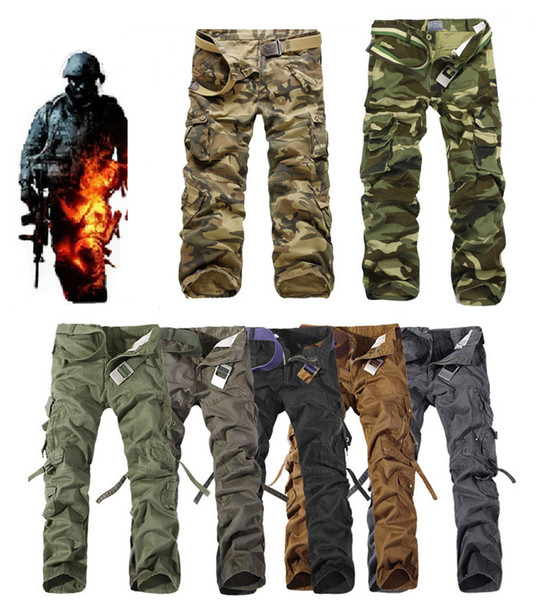 top popular 2017 Worker Pants CHRISTMAS NEW MENS CASUAL MILITARY ARMY CARGO CAMO COMBAT WORK PANTS TROUSERS 11 COLORS SIZE 28-38 2019