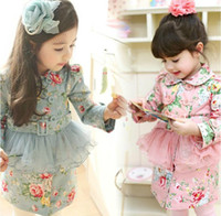Wholesale Trench Tutu - 2017 children autumn clothing baby girls floral long sleeve net yarn flower coat princess dress trench coat kids dress coats fashion outwear