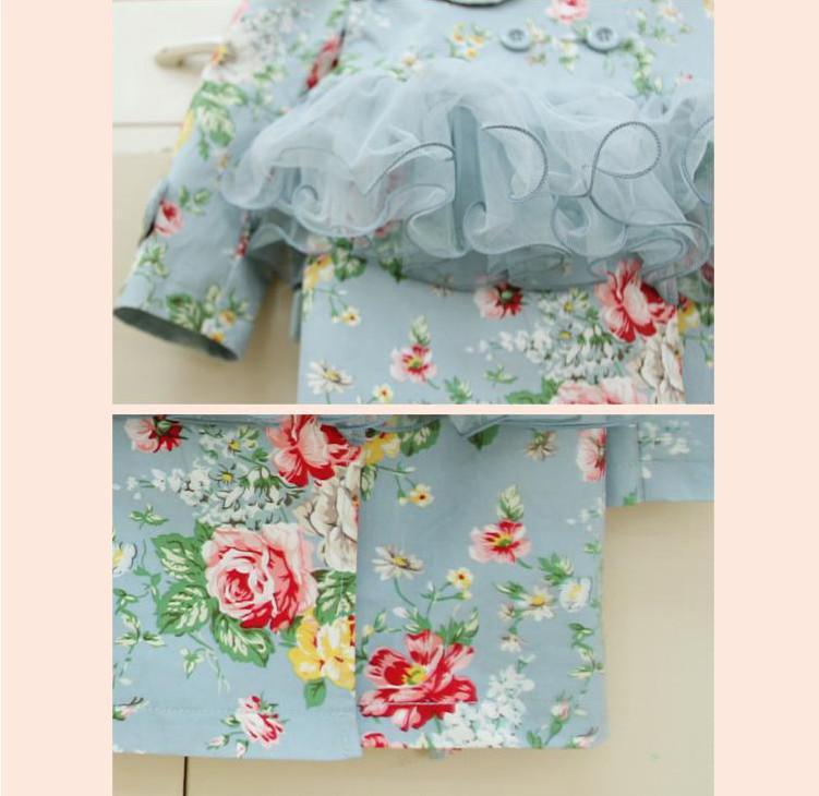 2018 children autumn clothing baby girls floral long sleeve net yarn flower coat princess dress trench coat kids dress coats fashion outwear