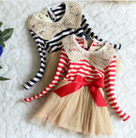 Wholesale Dress Tutu Red Stripe - Girl Dresses 33003 Children Clothes Girl Stripe Gauze Long Sleeve Princess Fashion Dresses Red Blue