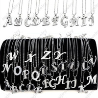 "Wholesale Wholesale Name Plate Necklaces - 30% Off~! INITIAL LETTER NAME PENDANT NECKLACE SILVER PLATED & CRYSTAL ON 17"" CHAIN NECKLACE NEW FASHION [JN080011*26]"